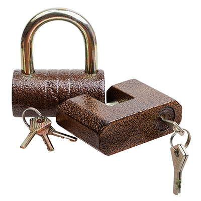 Two locks and keys isolated on white background, with clipping path